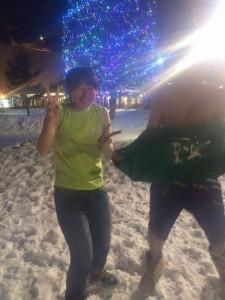 雪の中、おかしな人たち